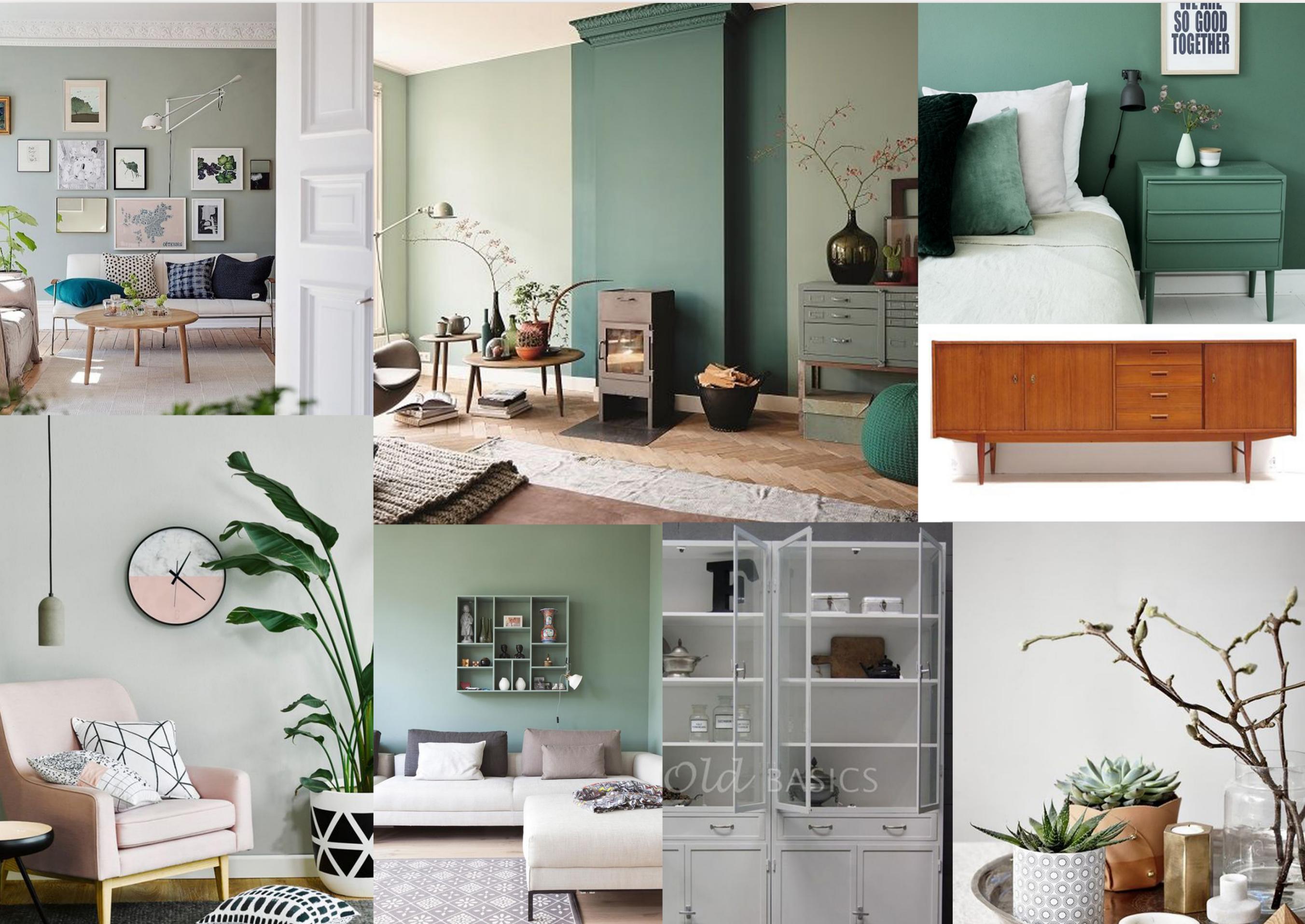 Woonkamer 2 - groen / hout / grijs / roze | Zitkamer | Pinterest