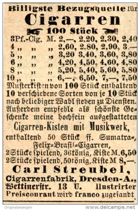 Original-Werbung/ Anzeige 1905 - CIGARREN STREUBEL DRESDEN - ca. 40 x 55 mm