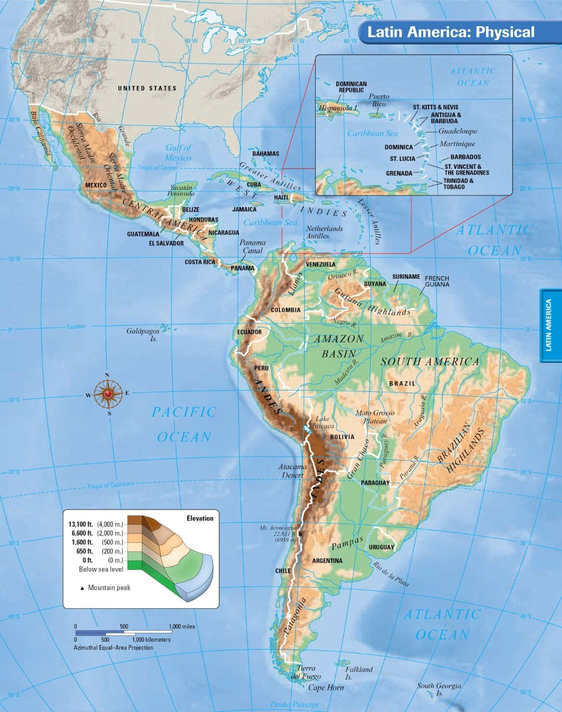 North America Physical Map Worksheet South America