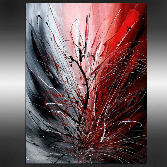OVERSIZE LARGE Abstract Painting Red ABSTRACT