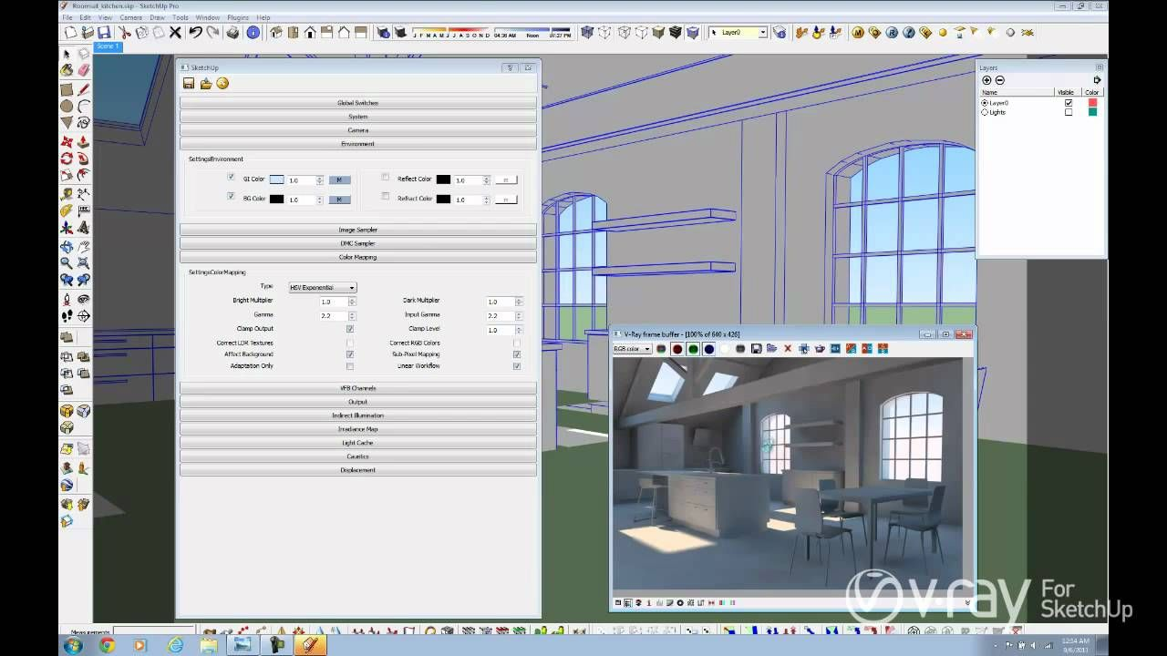 V Ray For Sketchup Daylight Set Up Interior Scene Tutorial