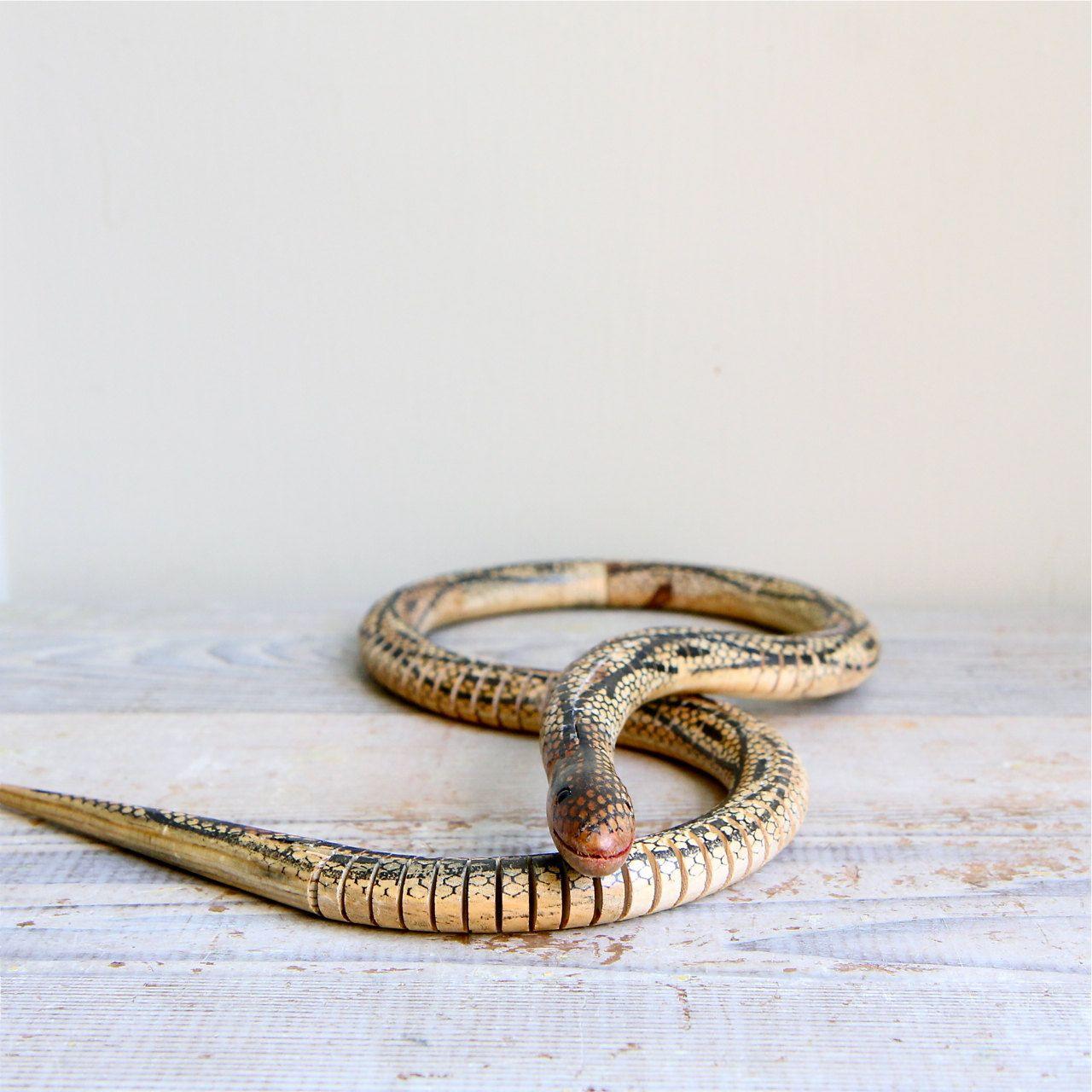 vintage wooden articulating snake   beau   vintage, wooden