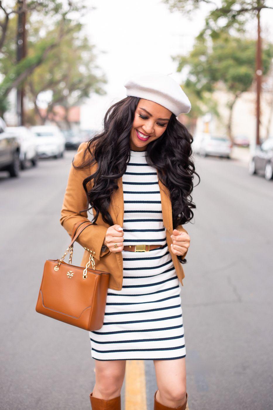 4cbccd164c5 Parisian Chic  striped dress camel blazer wool beret cognac boots winter  outfit