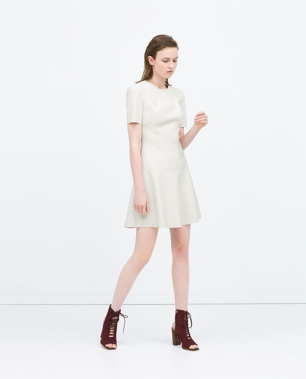White dress at zara - Obsessing Over This Dress Simple And Ever So Chic Zara Faux Leather Dress With