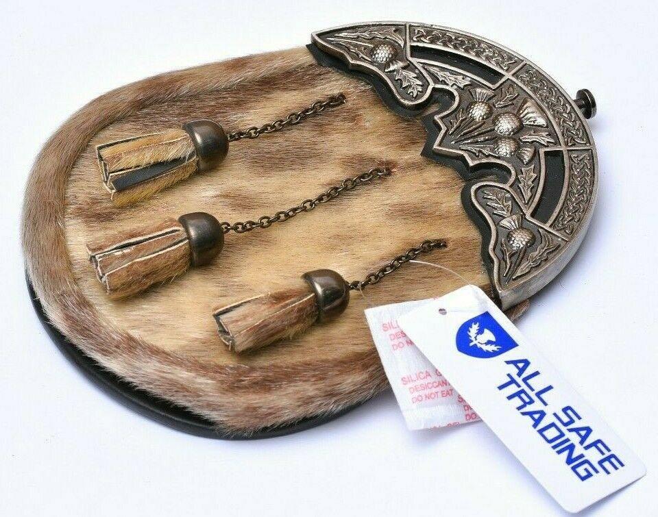 Scottish Leather Celtic Sporran with 3 Cross Tassel Chain Kilt Belt Bagpipe