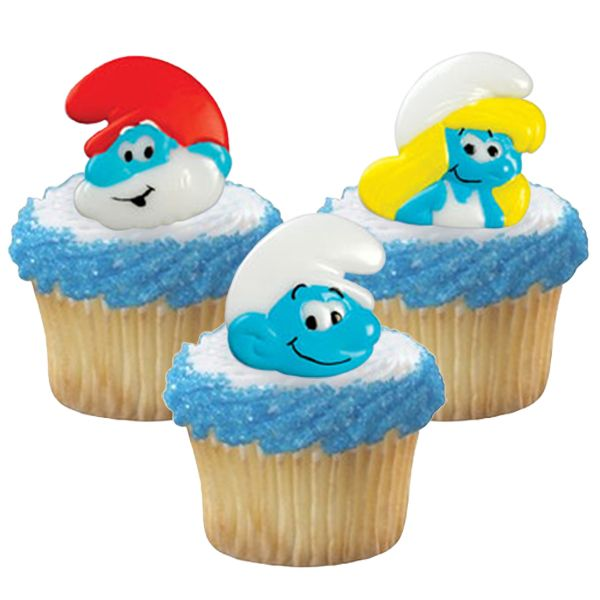 The Smurfs Cupcake Rings 8 Free Shipping Offer 50 Off Tableware