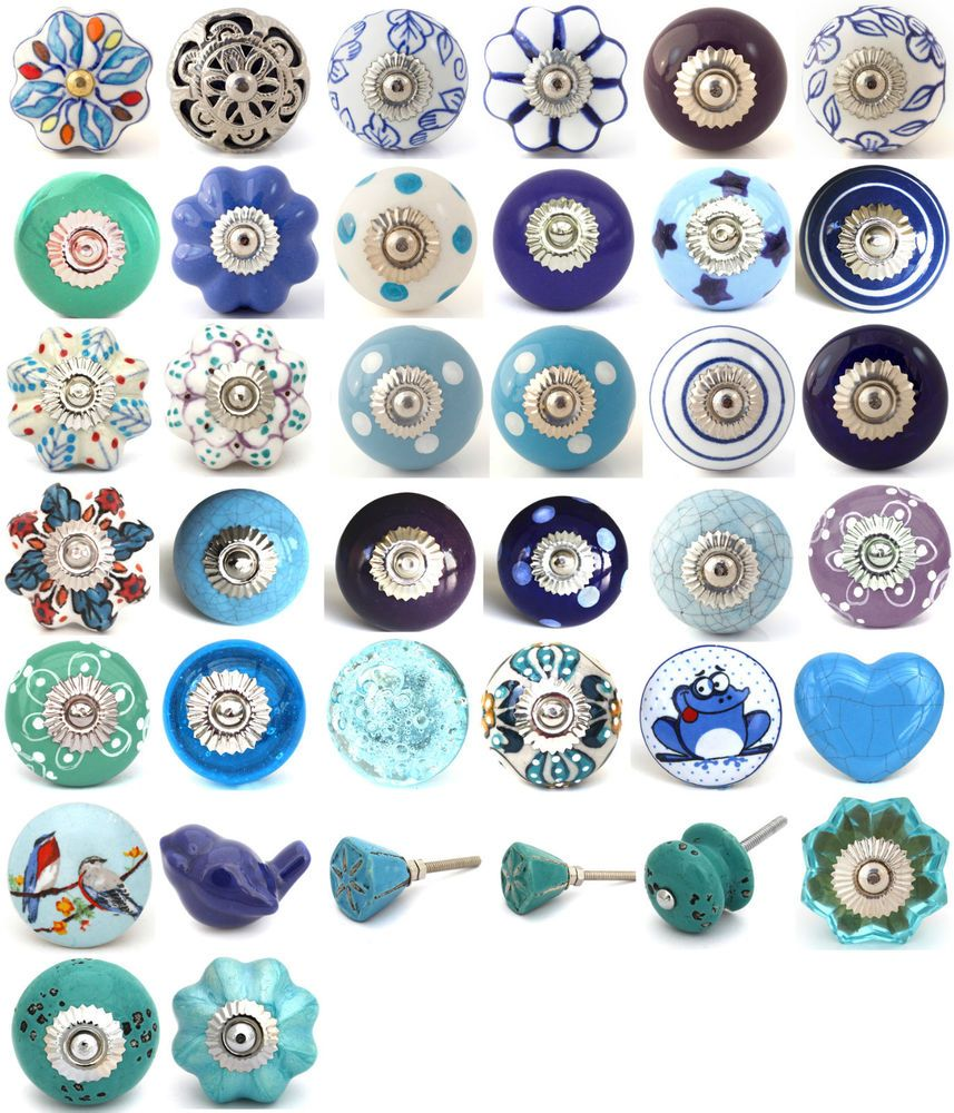 Blue purple turquoise ceramic knobs drawer pulls cupboard door knobs ...