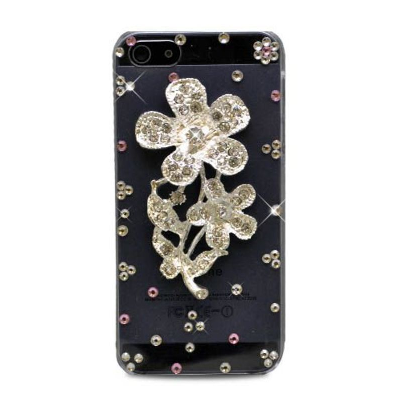 Insten / Silver 3D Flower Hard Snap-on Rhinestone Bling Case Cover For Apple iPhone 5/ 5S