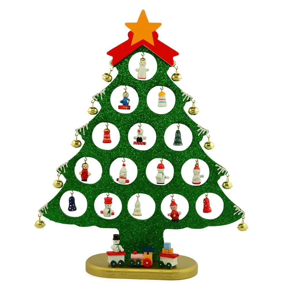 Wooden Tabletop Christmas Tree With 25 Miniature Ornaments 12 Inches Tabletop Christmas Tree Christmas Decorations Ornaments Wooden Christmas Trees