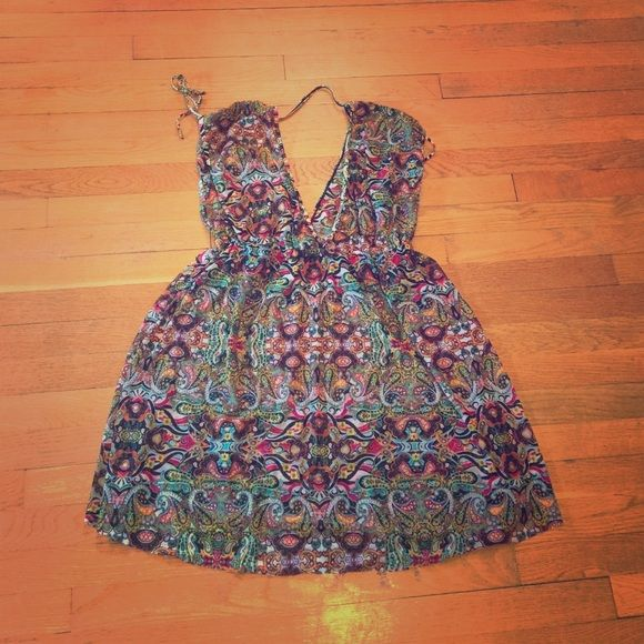 Colorful Paisley Cover Up Beautiful, colorful, sheer paisley cover up dress! Size large, fits more like a medium. Snag this vibrant piece just in time for summer!  Kenneth Cole Dresses