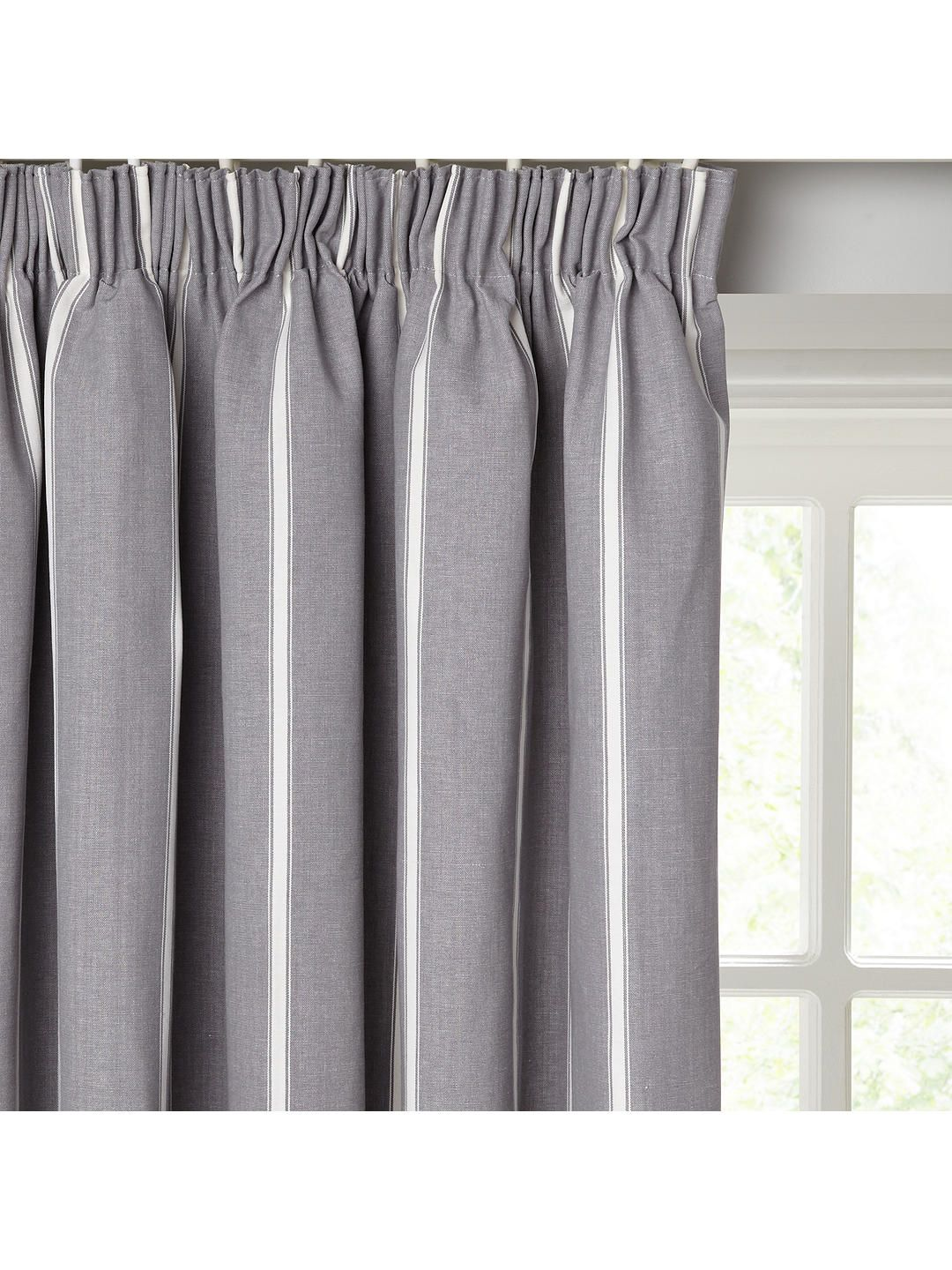 John Lewis Partners Padstow Stripe Pair Lined Pencil Pleat Curtains Pleated Curtains Custom Drapes Pencil Pleat