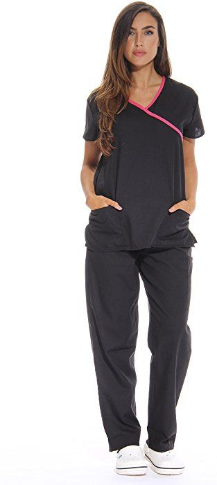 435631aa4b1 Amazon.com: 11130W Just Love Women's Scrub Sets / Medical Scrubs / Nursing  Scrubs - S, Black with Pink Trim, Small: Clothing