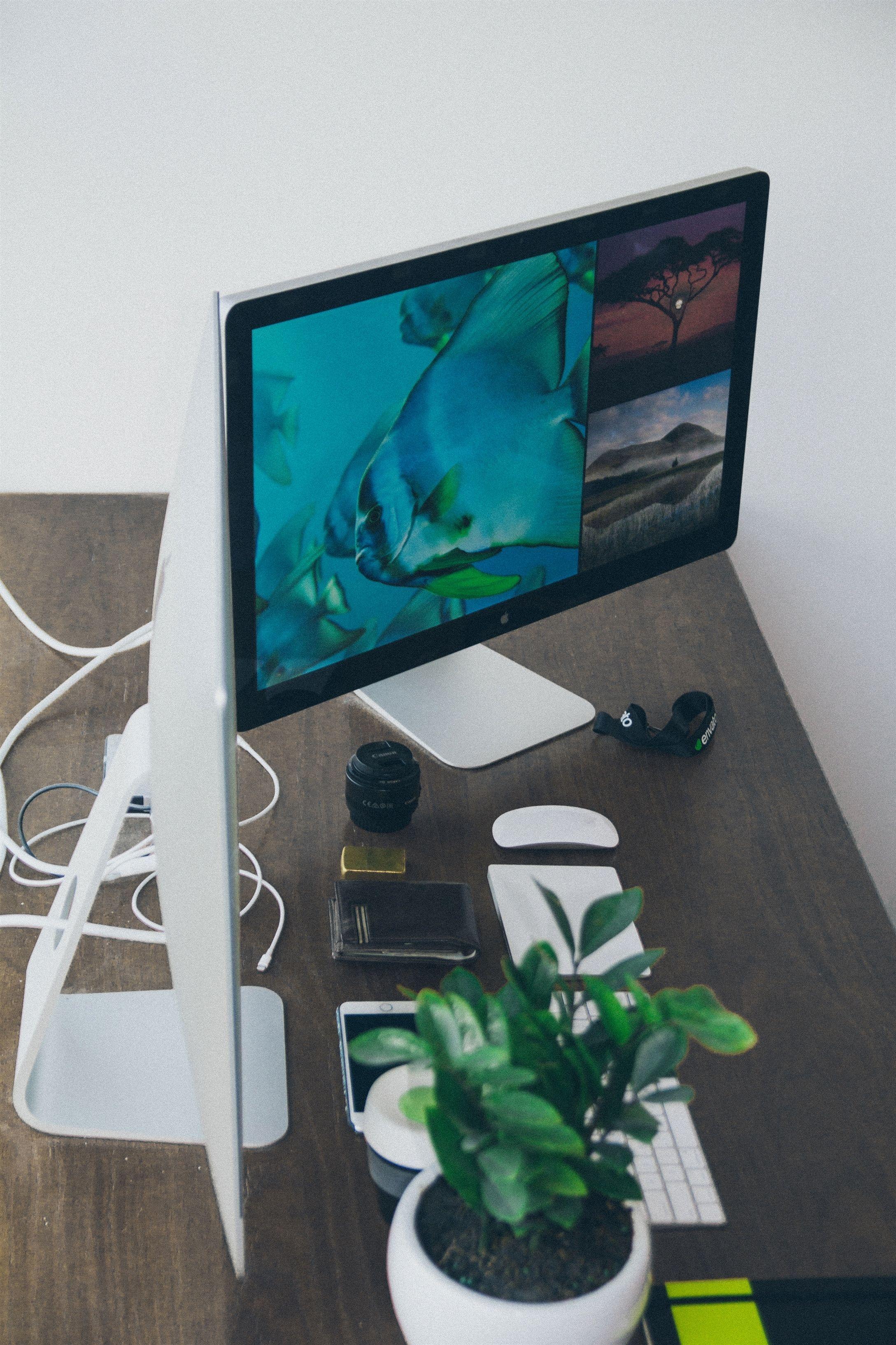 Apple Desk Office 60740 Wallpaper #Home Decor, #Home Decor Designer