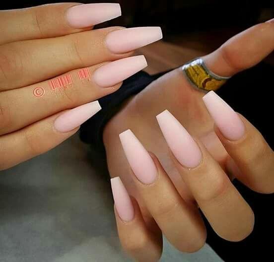 Baby Pink Matte Coffin Nails Unghie Unghie Opache Unghie Lunghe