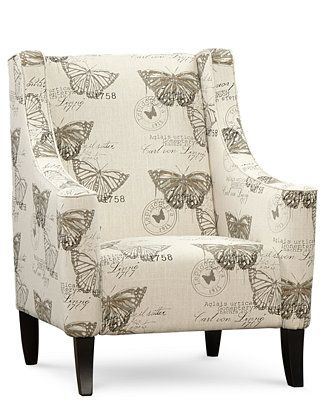 Josie Fabric Butterfly Printed Accent Chair, Direct Ship