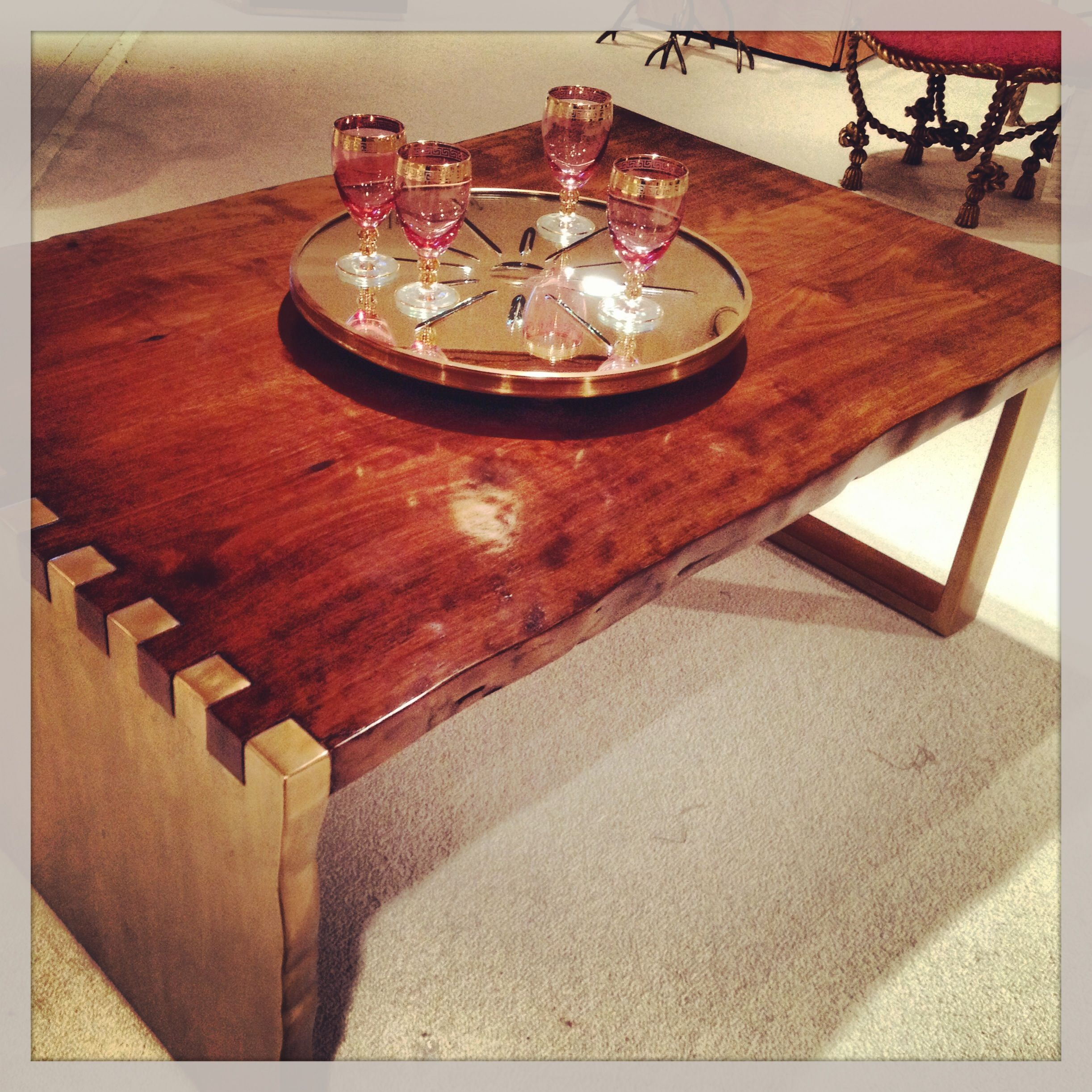 Asymmetrical base in brass wood top mod and rustic coffee table ...
