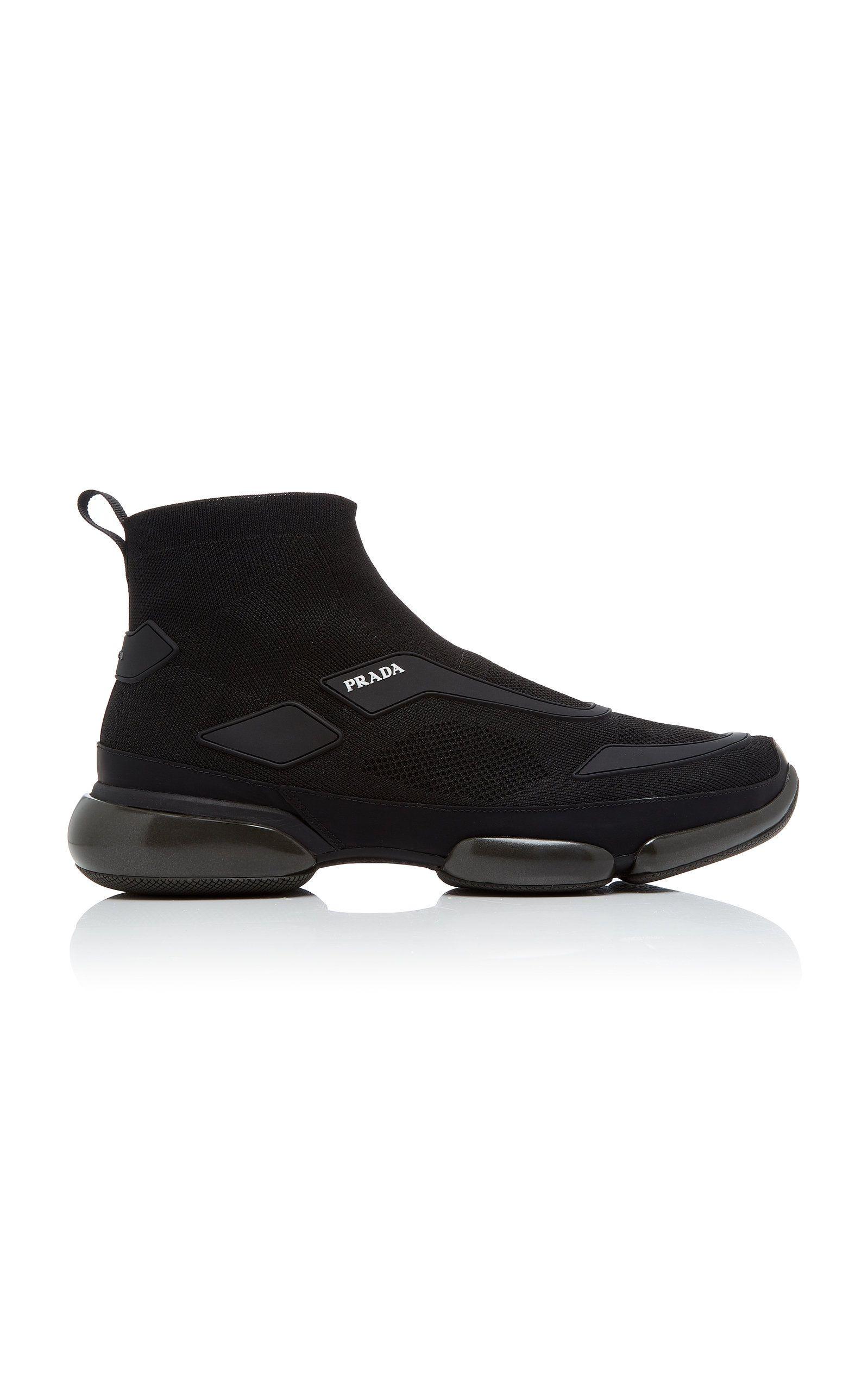 47bad3f6cc29 Prada Cloudbust Stretch-Knit High-Top Sneakers In Black