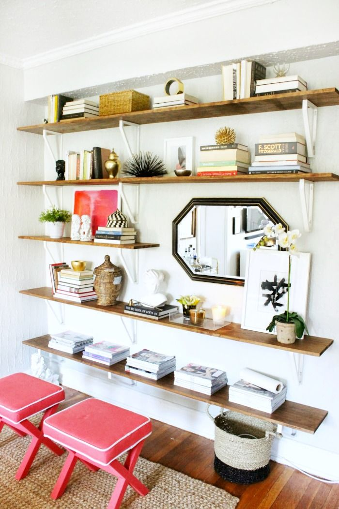 DIY Shelving Unit Feature Wall by Burlap and Lace Wall