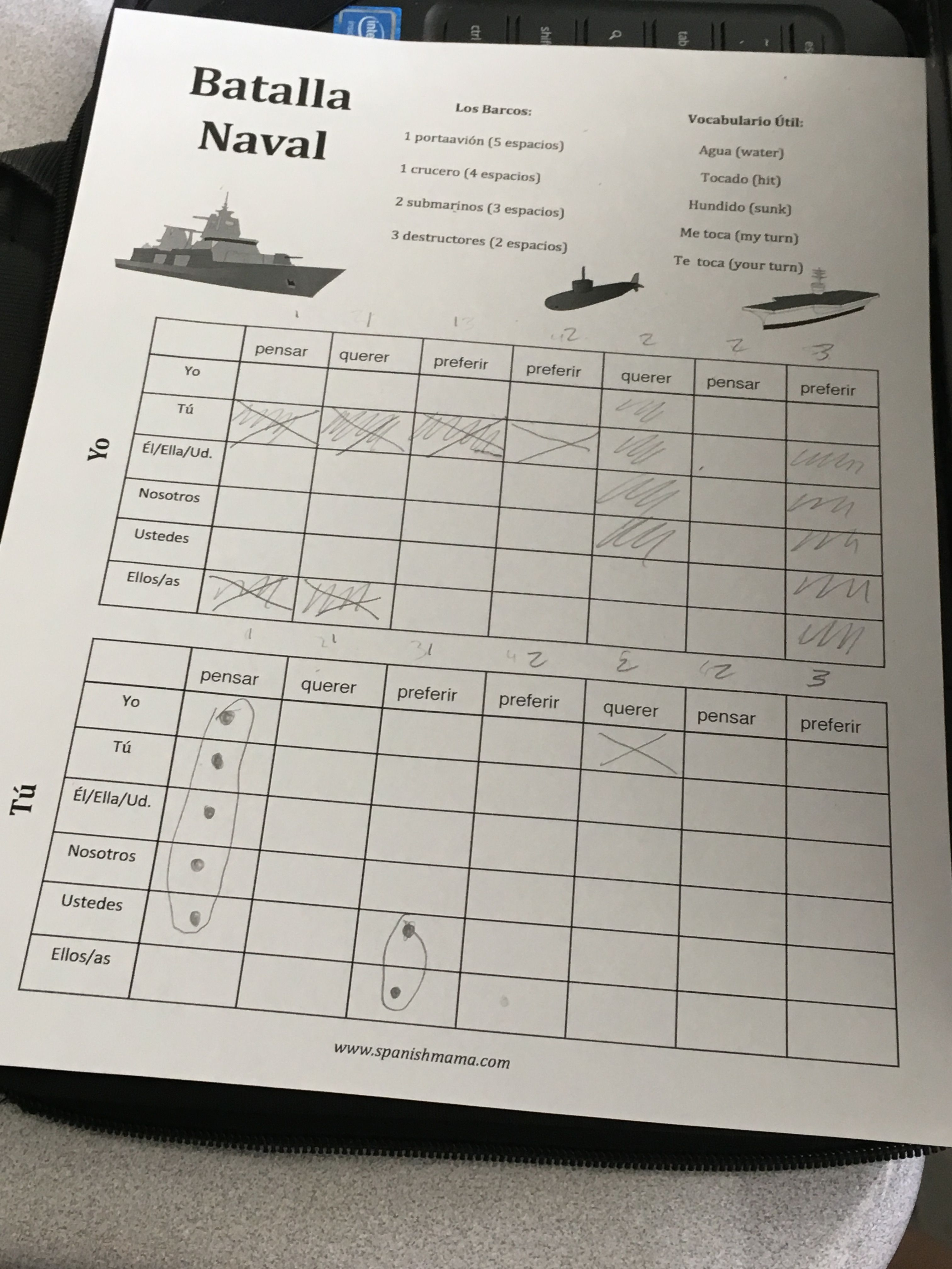 Battleship For Spanish Class Can Simplify This By Just Using Numbers And Letters On The Axis Spanish Classroom Games Spanish Lessons Spanish Class