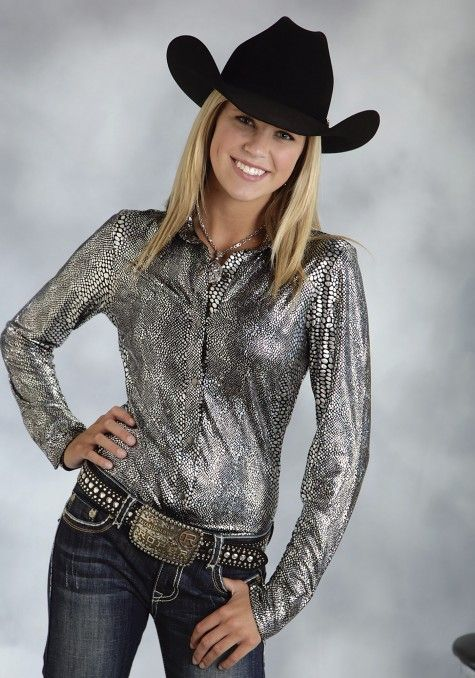 c17ec0ff7bc Roper® Women s Black   Silver Snake Print Long Sleeve Snap Western Show  Shirt