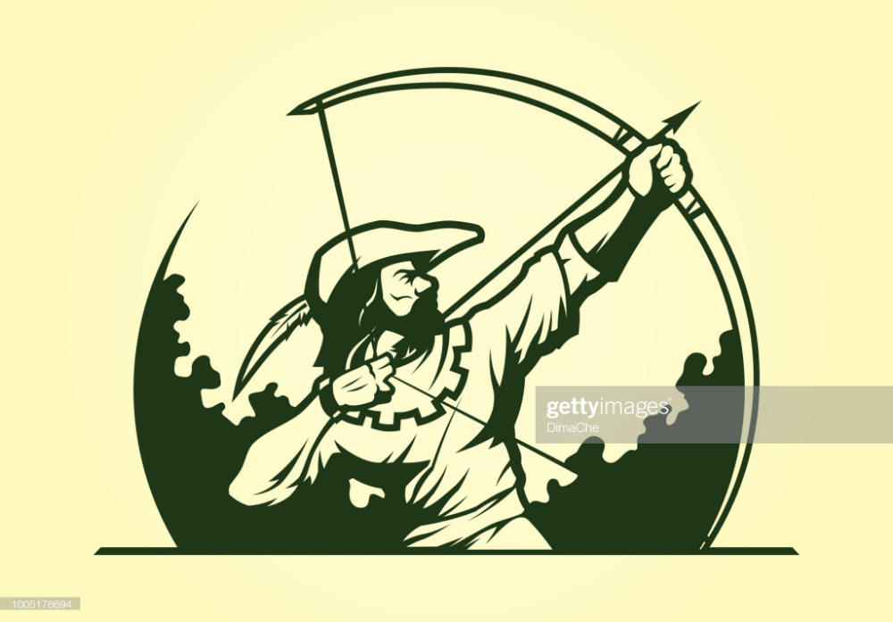 Medieval Archer Robin Hood With Bow And Arrow Vector Silhouette Medieval Archer Robin Hood Illustration