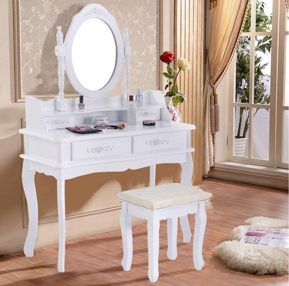 Vanity Vintage Jewelry Makeup Dressing Table Set Mirror