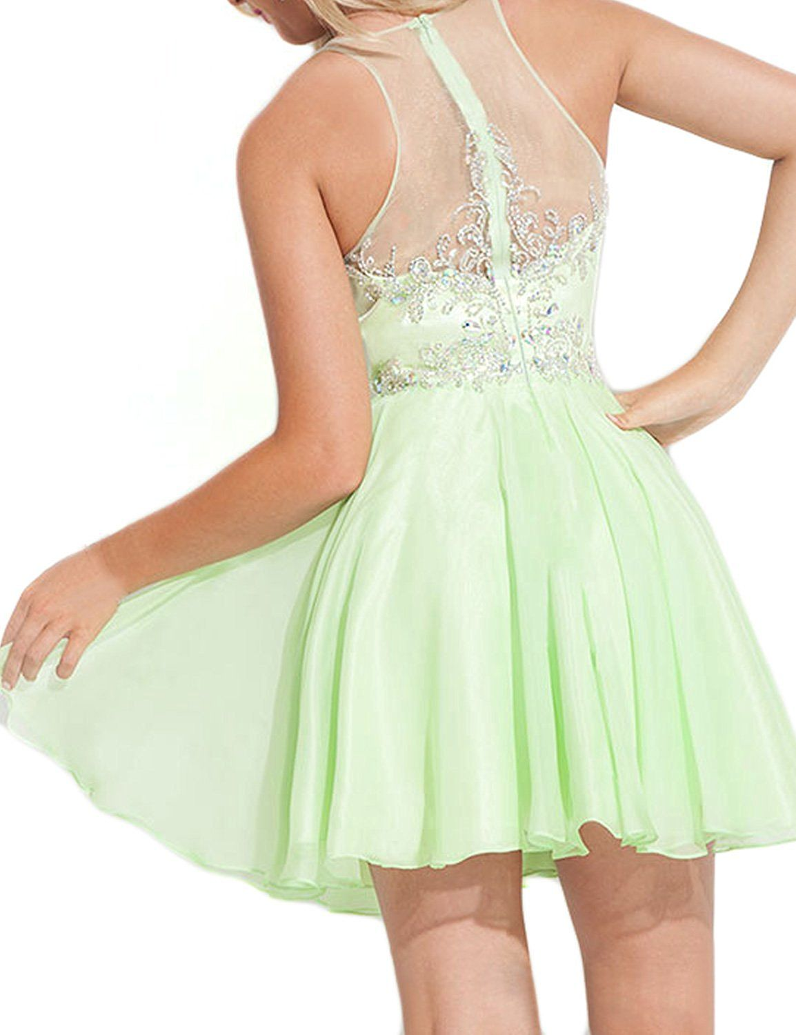 142773d550a Amazon.com  SeasonMall Women s Short Prom Dresses A Line Chiffon  Tulle Homecoming  Dresses  Clothing