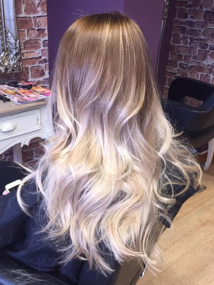 light brown to platinum blonde ombre