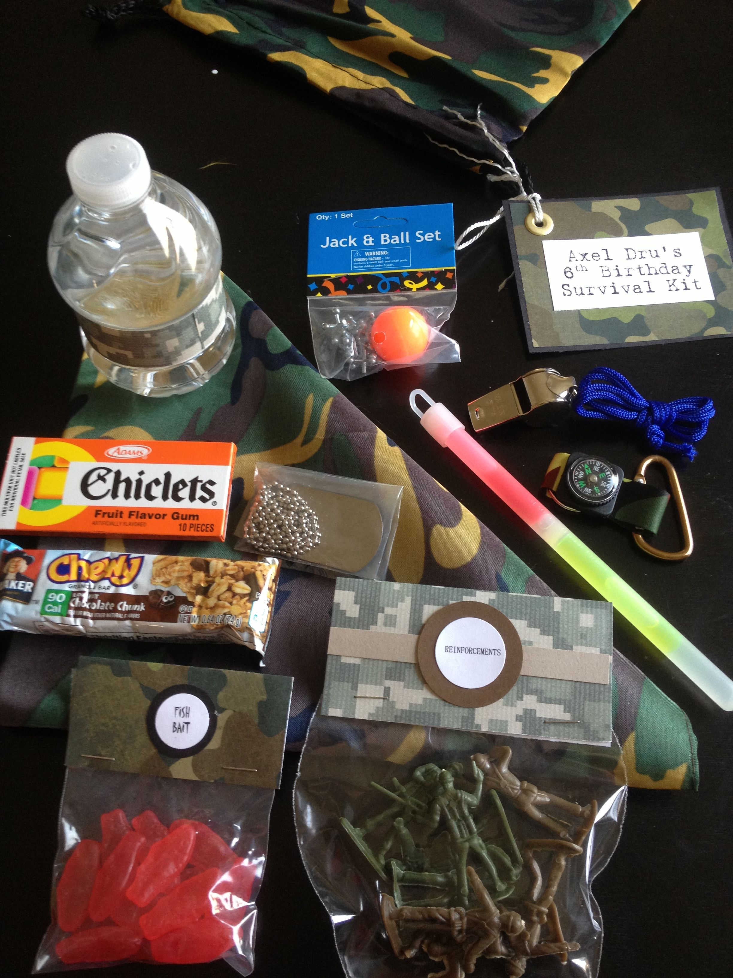 Items included in my sons birthday survival kit party favor