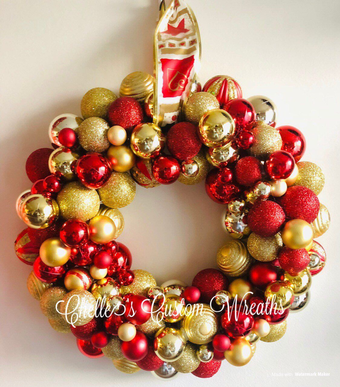 Excited To Share This Item From My Etsy Shop Christmas Ornament Ball Wreath Door Decor Handmade Gi Red Gold Christmas Ball Wreath Christmas Ornament Wreath
