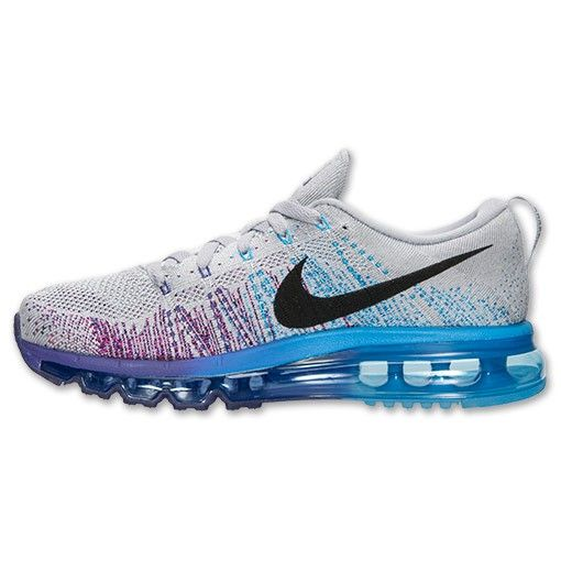 finest selection a322d 7c922 Hommes Nike Flyknit Air Max Running Chaussures - Loup Gris Cour  Pourpre Bleu Vif