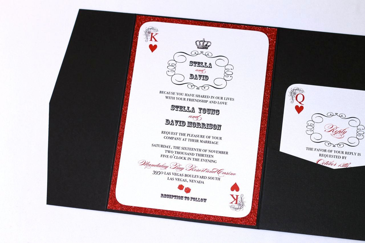 Stella Pocket fold Las Vegas Invitation Sample - Black Metallic ...