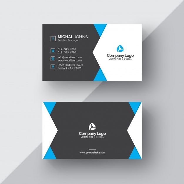 Download Black And White Business Card With Blue Details For Free Stunning Business Cards Business Card Fonts White Business Card