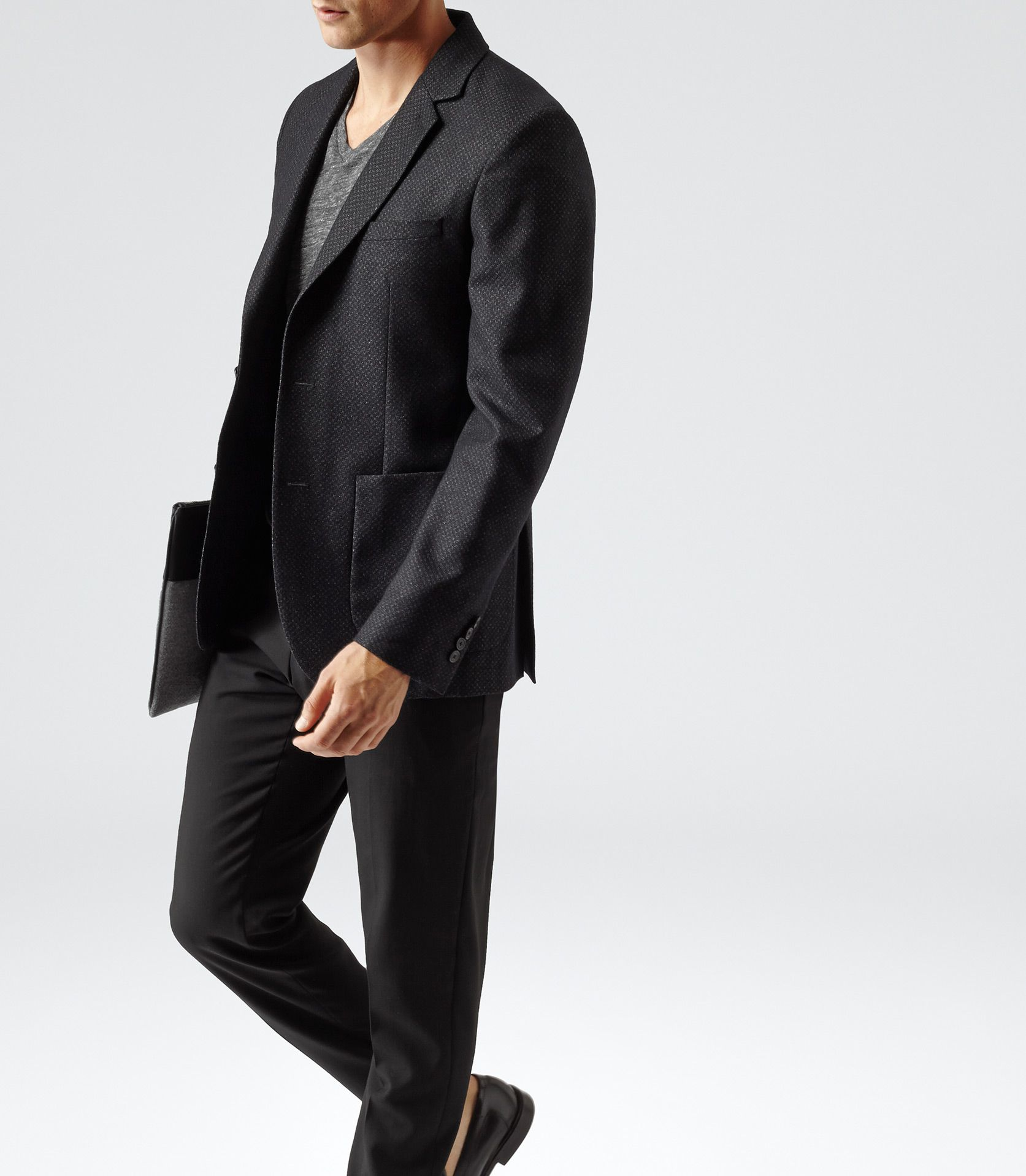 88701c1db08342 Mens Black Textured Two Button Blazer - Reiss California