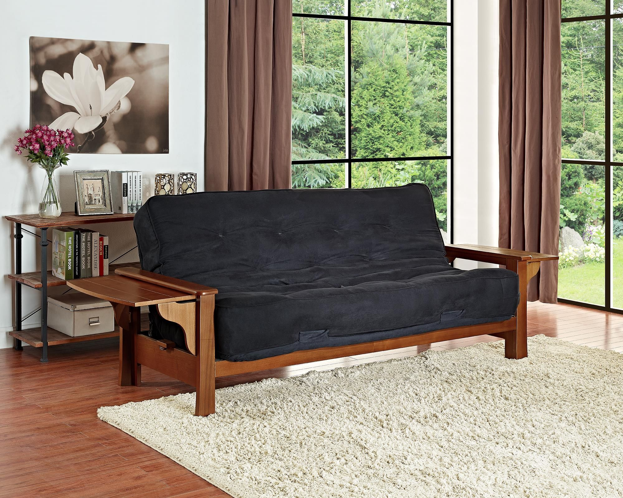 Dhp Furniture Brooklyn Wood Arm Futon With 8 Mattres
