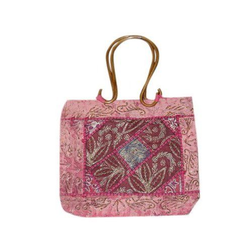 Amazon.com: Gift Idea for Her- Lovely Pink Patchwork Zari Purse Bag Hobo Bag Purse Handbag: Clothing