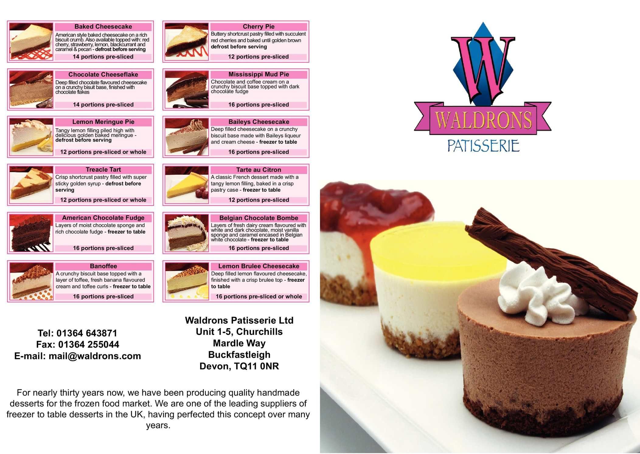 Waldrons Patisserie Brochure 2014 15 Baked Meringue American