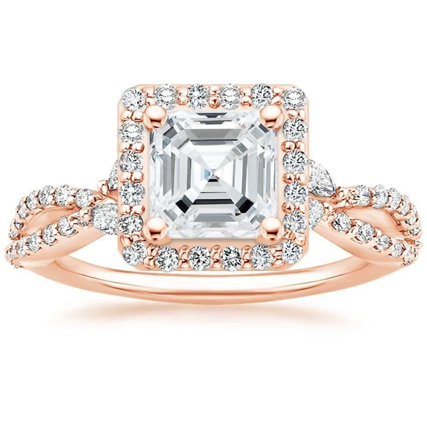 Asscher Cut Luxe Willow Halo Halo Diamond Engagement Ring - 14K Rose Gold
