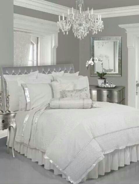 Matrimonio Bed Cover : Blanco y plata elegante decoración pinterest