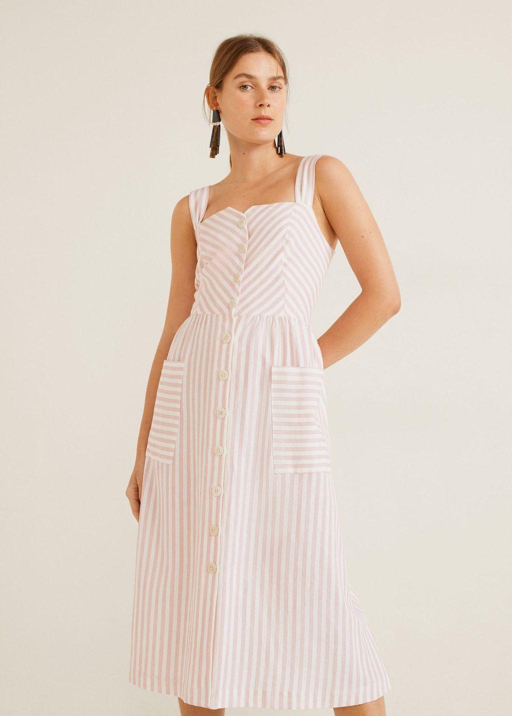 striped linen dress - women | mango united kingdom