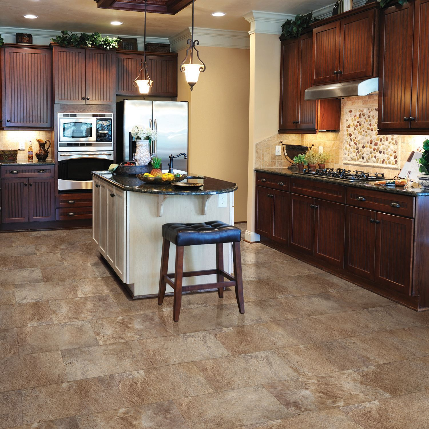 Floating Floor For Kitchen Select Surfaces Click Luxury Vinyl Tile Flooring Mountain Slate