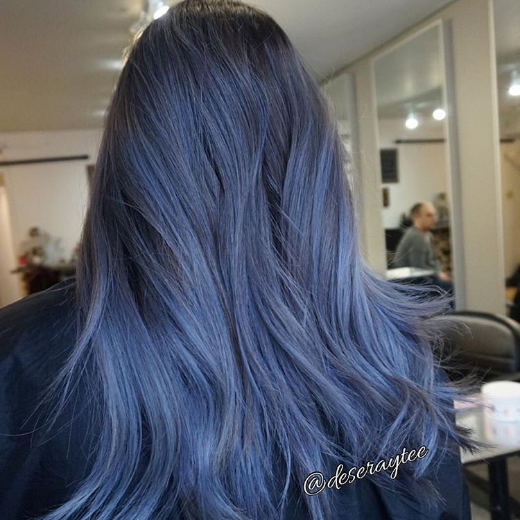 This blue slate is dreamy 💙 @fanola_usa #blue #fanola #modernsalon #colour #colourful #Balayage #blondes #ombres #underlights hair blue