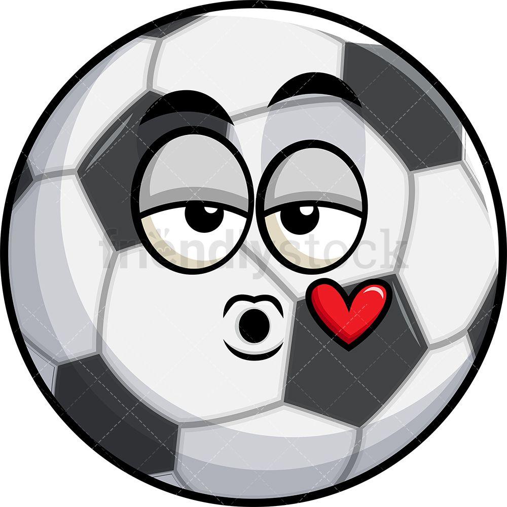 Soccer Ball Blowing A Kiss Emoji Cartoon Clipart Vector Friendlystock Kiss Emoji Soccer Ball Cartoon Clip Art