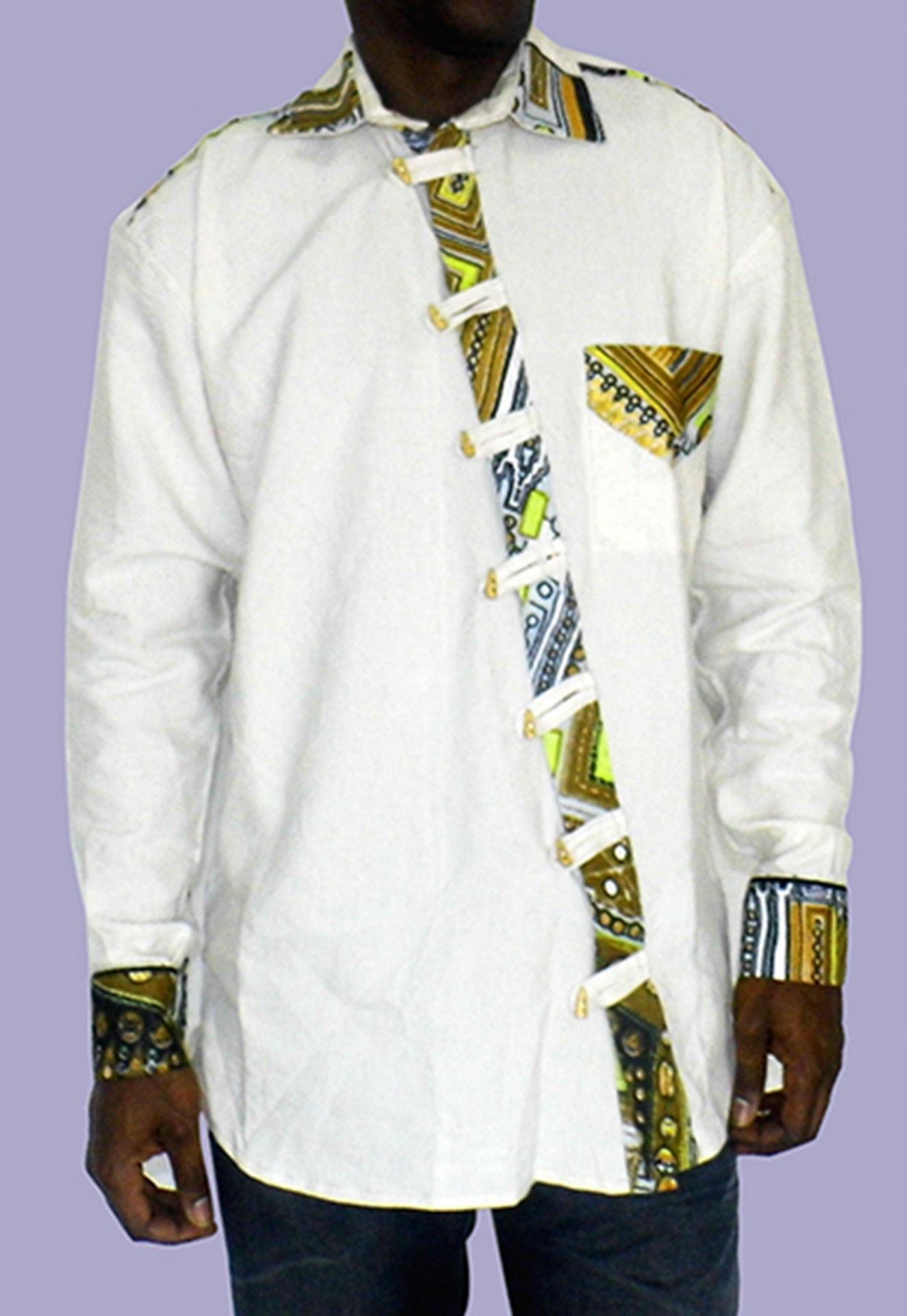chemise homme en lin blanc et en tissu pagne africain tissu pagne pagne africain et chemise homme. Black Bedroom Furniture Sets. Home Design Ideas