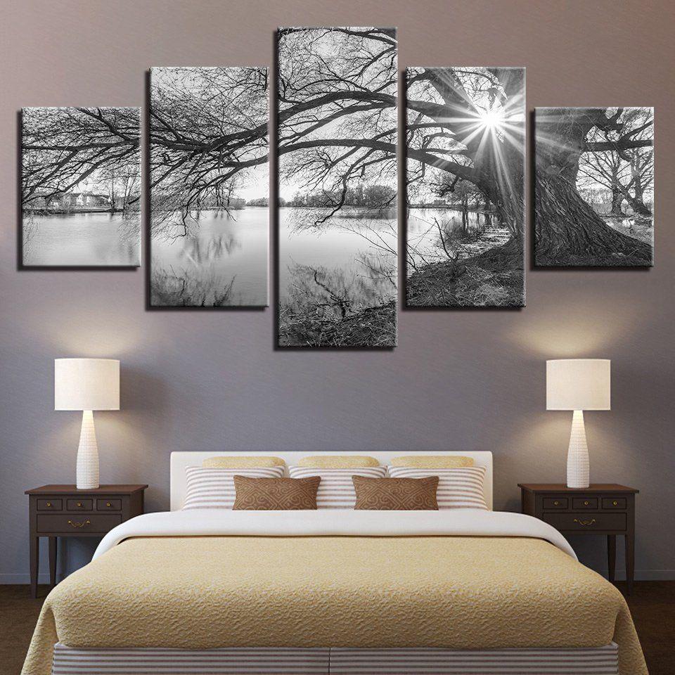 5 Panel Print Decor Lakeside Canvas Set Big Tree Lake Wall Art Canvas Black White Nature Lands Canvas Art Wall Decor Wall Art Living Room Landscape Wall Art