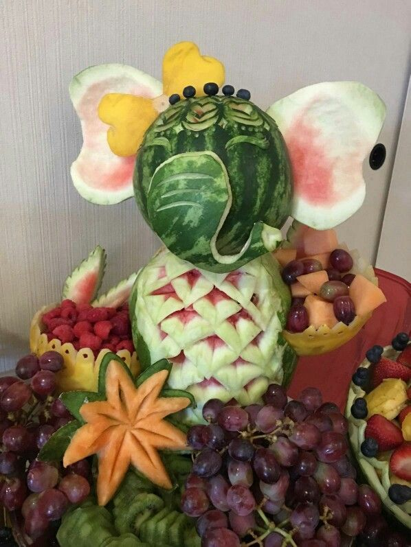 Baby Shower Watermelon Carving : shower, watermelon, carving, Fruit, Carving, Platter, Elephant, Shower, Watermelon,, Carving,