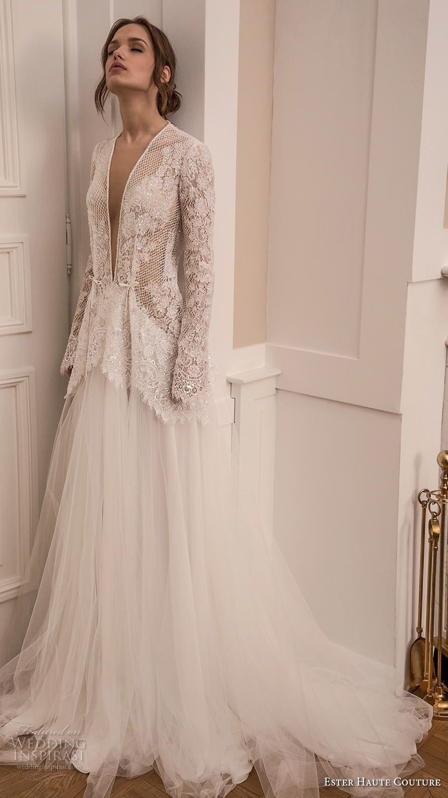 1f7f6011508 ester haute couture 2019 bridal long sleeves deep plunging v neck full  embellishment glitzy elegant sexy a line wedding dress keyhole back medium  train (9) ...