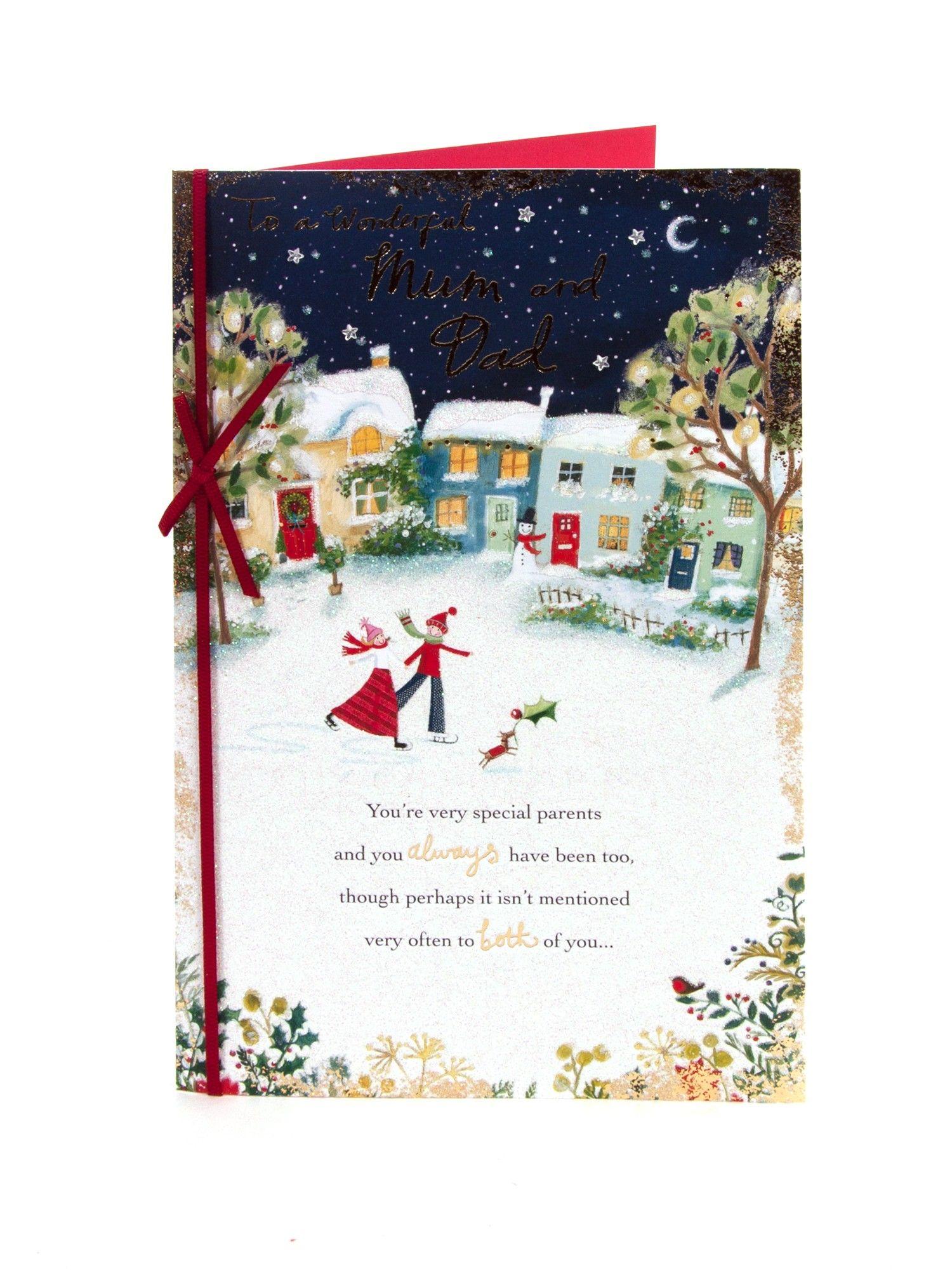 Ice Skating Couple Christmas Card - For Mum & Dad | Christmas ...