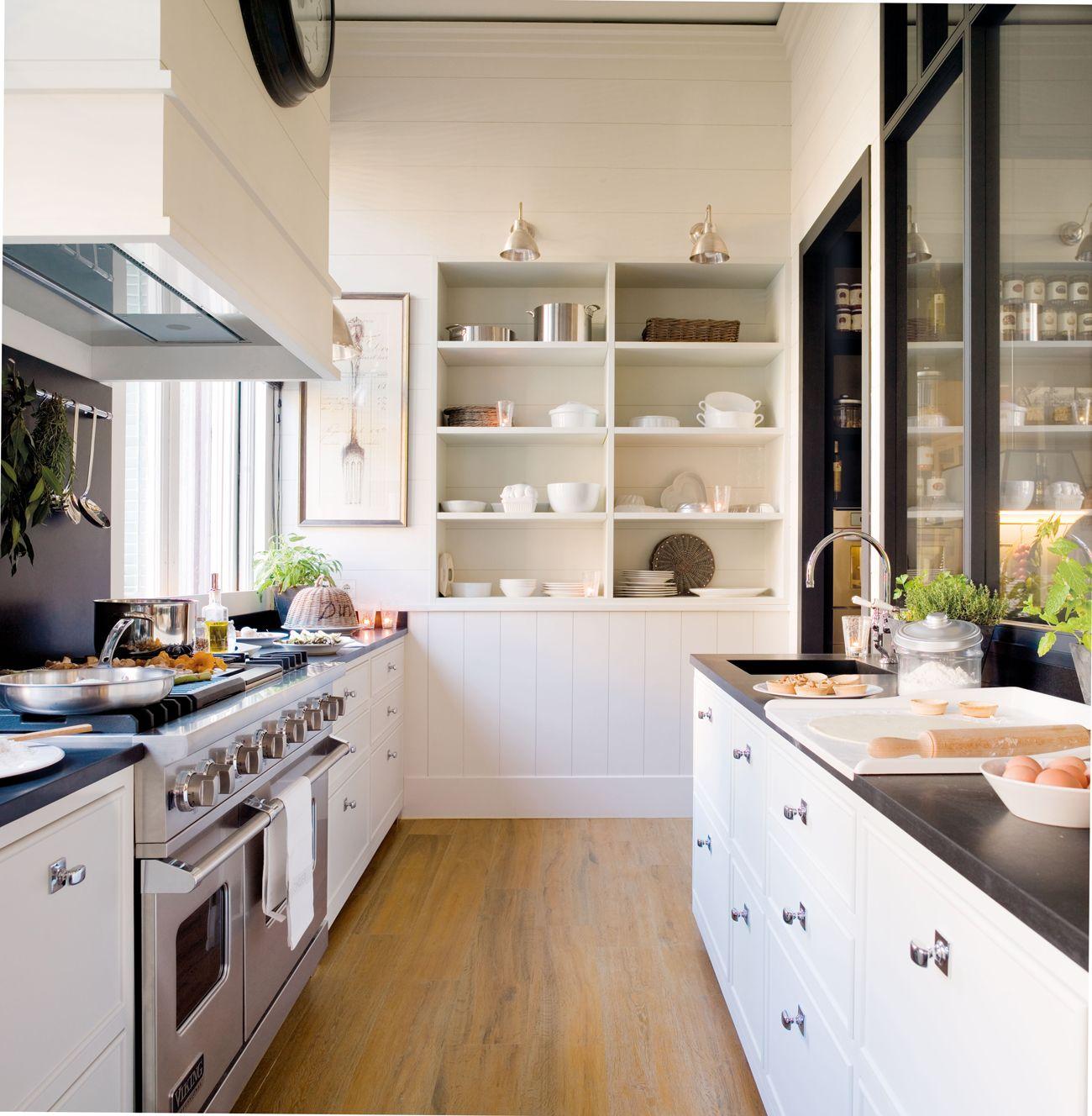 Cocina blanca con encimera negra y cristalera negra 00332195 | Color ...