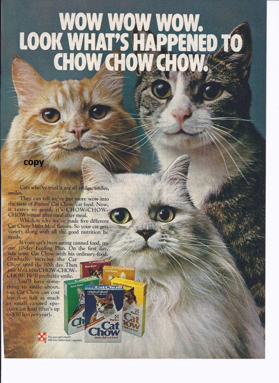 Purina Cat Chow ad from Family Circle February by VintageVonRetro, $5.00